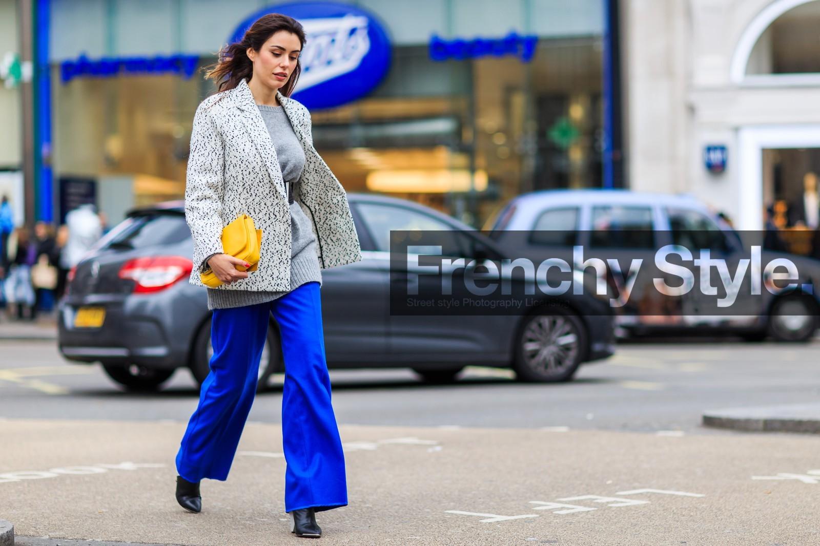 grey blazer blue pants