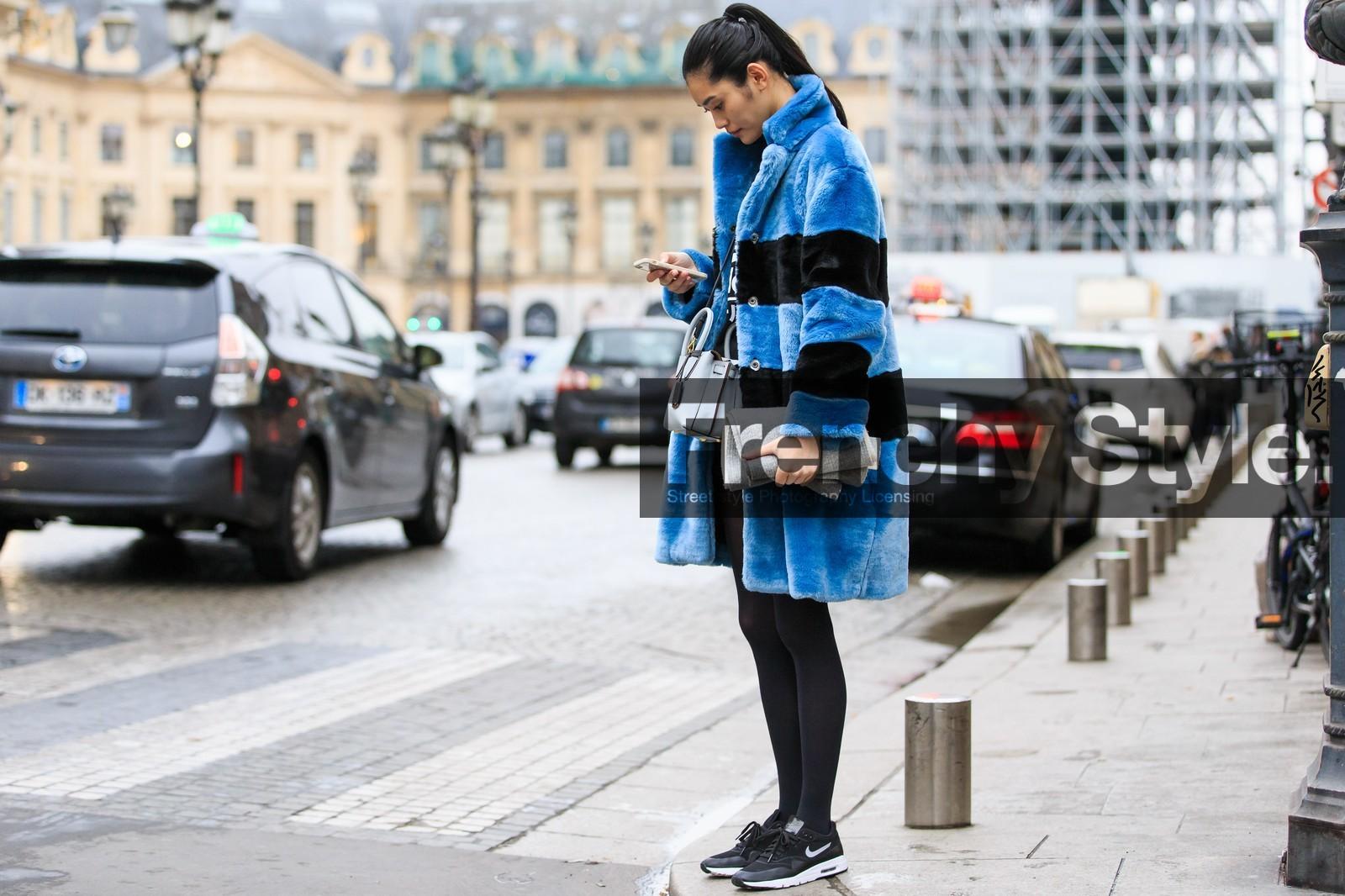 mini skirt and trainers