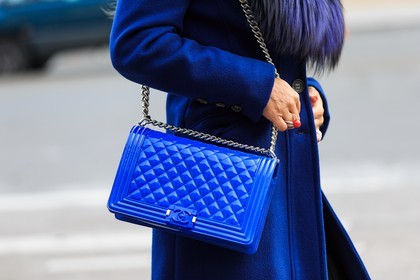 All Blue Atmosphere Details Patent Leather Boy Chanel Bag Wool Coat